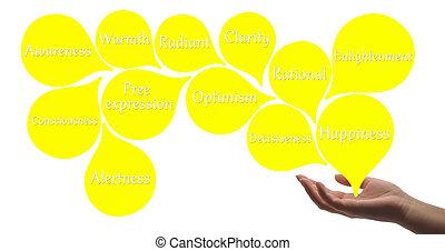 色, -, 黄色, 療法, 治癒, エネルギー