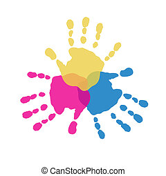 色, 3, handprints, 予備選挙
