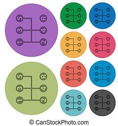 色, 5, アイコン, スピード, シフトしなさい, より暗い, マニュアル, 平ら, ギヤ