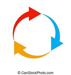 色, arrow., ベクトル, illustration., 円