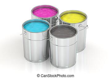 色, concept., cmyk, レンダリング, 缶, ペンキ, 3d