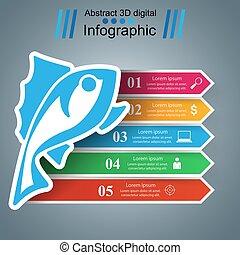 色, fish, ペーパー, 矢, infographic