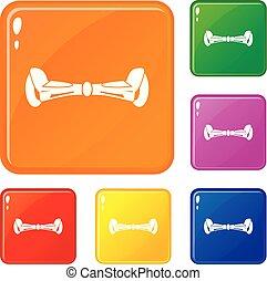 色, hoverboard, ベクトル, セット, アイコン