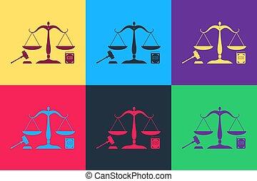 色, law., 法律, アイコン, 正義, 本, スケール, オークション, ポンとはじけなさい, 隔離された, ベクトル, 法的, justice., シンボル。, シンボル, バックグラウンド。, 小槌, 概念, 芸術