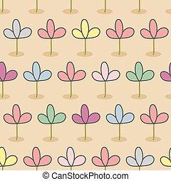 色, retro は開花する, 芽, 生地, seamless, 花, ブラウン, bed., バックグラウンド。, pattern., 庭装飾