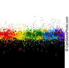 色, splashes., 勾配, 背景, ベクトル, ペンキ