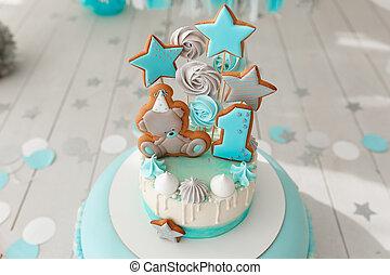 色, tiffany, bisquit, ケーキ, バックグラウンド。, birthday, 赤ん坊, gingerbread, decor.