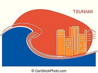 色, tsunami, city., イラスト, ベクトル, 線, 大きい, 平ら