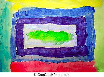 艺术, 摘要, 色彩丰富, 背景, 涂描, 在上, 纸