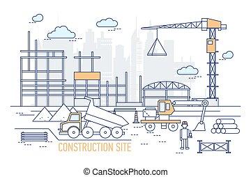 艺术, 摩天楼, 堆存处, 努力, 站点, style., constructed, 区域, 建筑物, 背景。, 卡车, 工程师, 帽子, 穿, 描述, 建设, 线, excavator, 对, 侧面影象, 矢量, 起重机, 或者