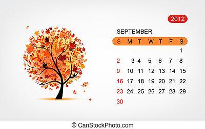 艺术, 树, 矢量, 设计, 日历, 2012
