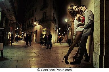 艺术, 照片, 在中, 帅哥, 同时,, 他的, 性感, 女士