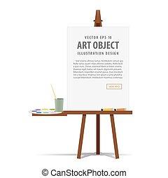 艺术, 画架, 同时,, 帆布, 带, 设备, 为, 绘画, 为, 做广告, 同时,, 表达, 描述, vector.