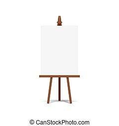 艺术, 画架, 同时,, 空白的帆布, 空间, 准备好, 为, 你, 做广告, 同时,, 表达, vector.