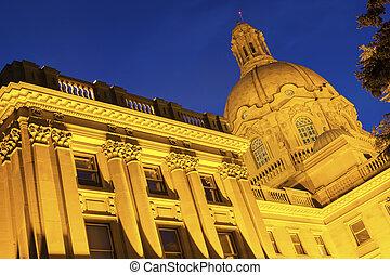 艾伯塔, 立法, 建築物, 夜間