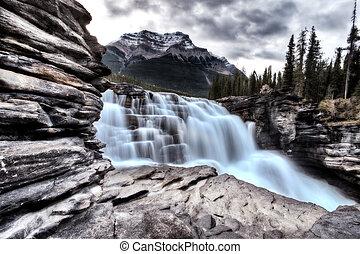 艾伯塔, athabasca, 加拿大, 瀑布