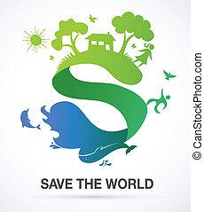 节省, 世界, -, 性质, 同时,, 生态, 背景, 带, s, 图标