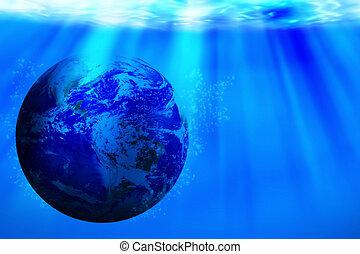 节省, 水, 概念, 世界, 水, 天