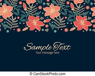 芙蓉屬的植物, 震動, 問候, 熱帶, 矢量, 樣板, 邀請, 水平, 花, 邊框, 卡片