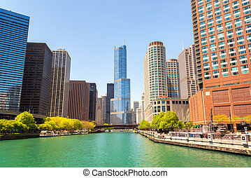 芝加哥河, 同时,, 摩天楼