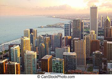 芝加哥, 傍晚, 摩天樓, 看法