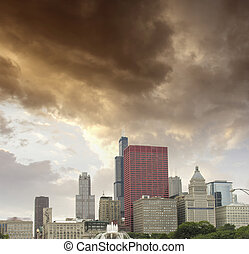 芝加哥, illinois., 极好, 天空, 颜色, 结束, 城市, 摩天楼