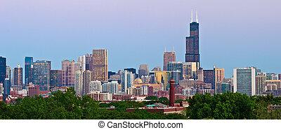 芝加哥, skyline.
