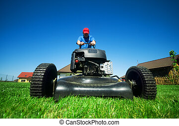 芝生の刈ること
