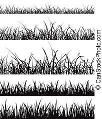 芝生の草, シルエット, セット