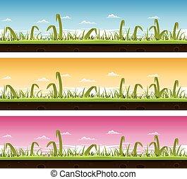 芝生の草, セット, 風景