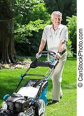 芝生, 人, 芝刈り機