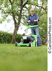 芝生, 彼の, 庭, 仕事, 芝刈り機, 人