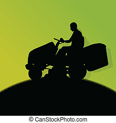 芝生, 抽象的, イラスト, 芝刈り機, フィールド, 切断, ベクトル, トラクター, 背景, 草, 風景, 人