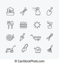 芝生, 要素, 園芸, 庭, フェンス, アウトライン, icons., 芝刈り機, ベクトル, スプレーヤー, 線, secateurs, 道具, signs., 庭師