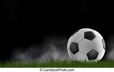 芝生, 3d-illustration, 隔離された, 黒い背景, ボール, サッカー, 霧, 暗い緑