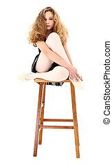 芭蕾舞女演員, 女孩, 孩子, 坐, 上, 凳子, 由于, 裁減路線, 在上方, white.
