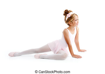 芭蕾舞女演員, 很少, 坐, 伸展, 芭蕾舞舞蹈演員, 孩子