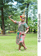 芭蕾舞, 古代的藝術, 古典, 跳舞, 傳統, dress., 男演員, 戴面具, 執行, 泰國, 泰國, khon-thai