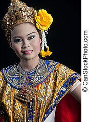 芭蕾舞, 古典, ramayana, thailand., 戴面具, khon-thai