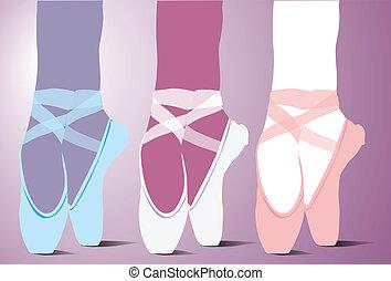 芭蕾舞, 矢量, 鞋子, 插圖
