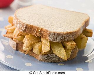 芯片, 三明治, 在怀特上, bread