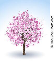 花が咲いている桜, 木