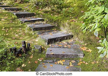 花こう岩, 石, ステップ, アジア人, 庭