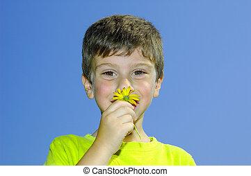 花のにおいをかぎなさい