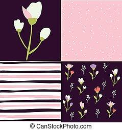 花のパターン, セット