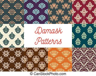 花のパターン, セット, seamless, ダマスク織
