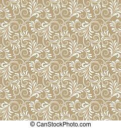 花のパターン, バロック式, ベージュ