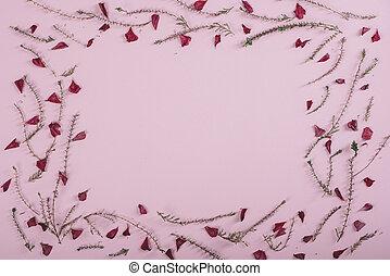 花のパターン, フレーム, 上に, ピンク, バックグラウンド。