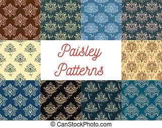花のパターン, ペイズリー織, セット, seamless