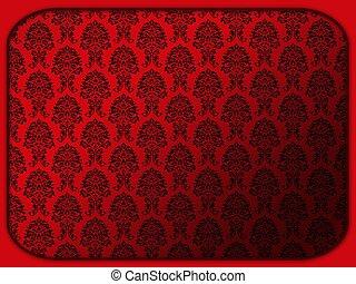 花のパターン, レトロ, 赤